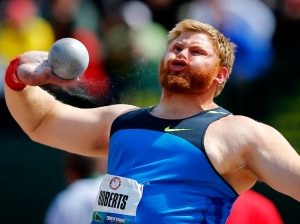 U.S. shot putter Kurtis Roberts throws during the the U.S. Olympic athletics trials in Eugene